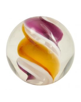 1 Orange Tornado Marbles - 16 mm glass art marble