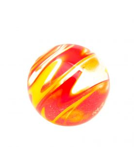 1 Red Flash Art Glass Marble 16 mm