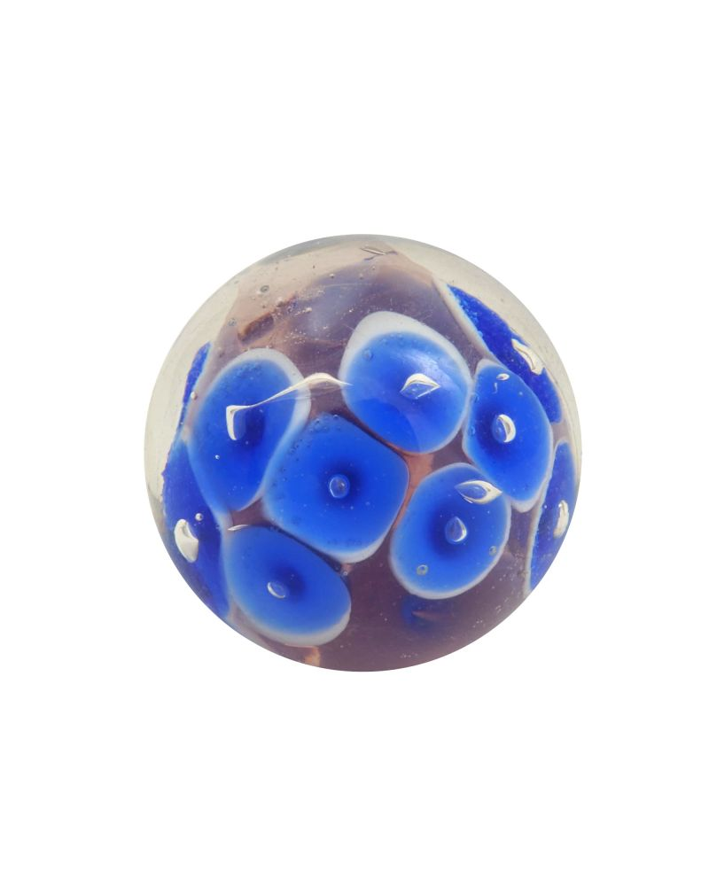 1 Marble Blue Water Lily 16 mm Glass Marbles