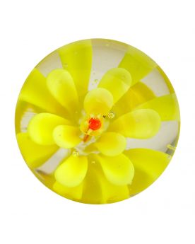 1 Marble Yellow Flower Art Marble 16 mm Glass Marbles