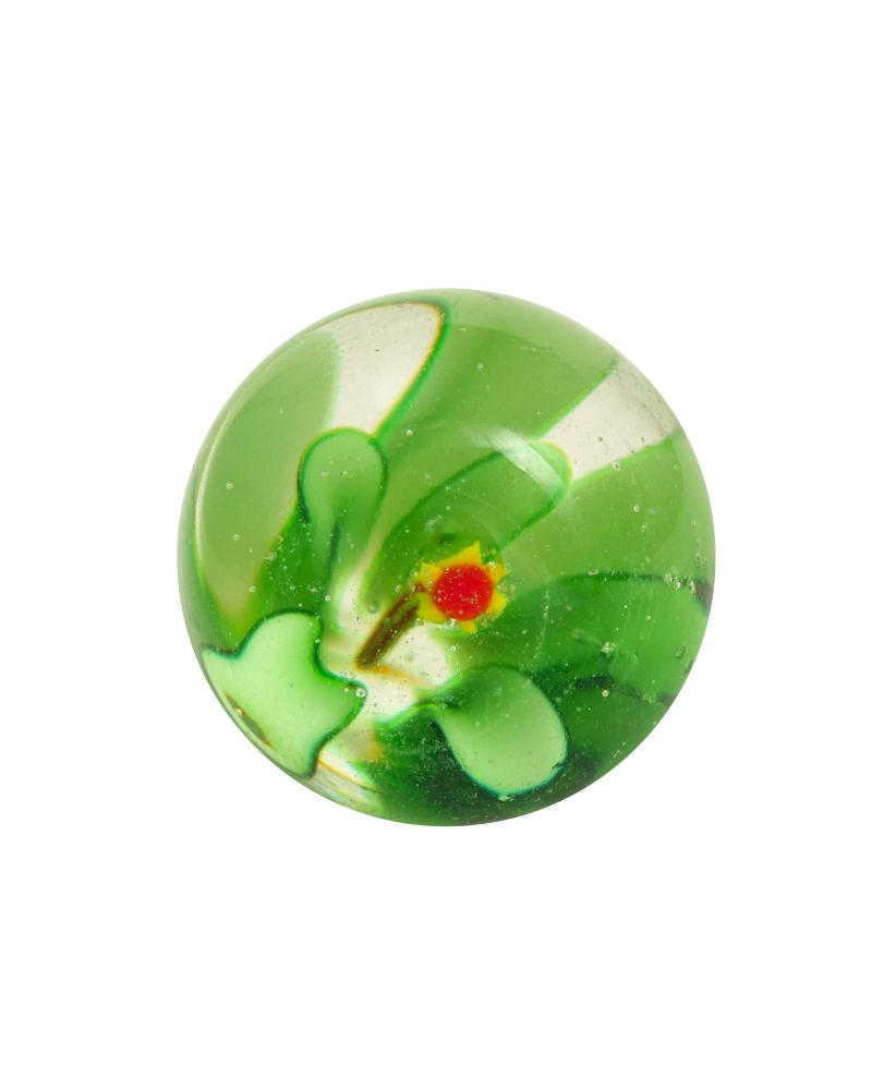 1 Marble Green Flower Art Marble 16 mm Glass Marbles