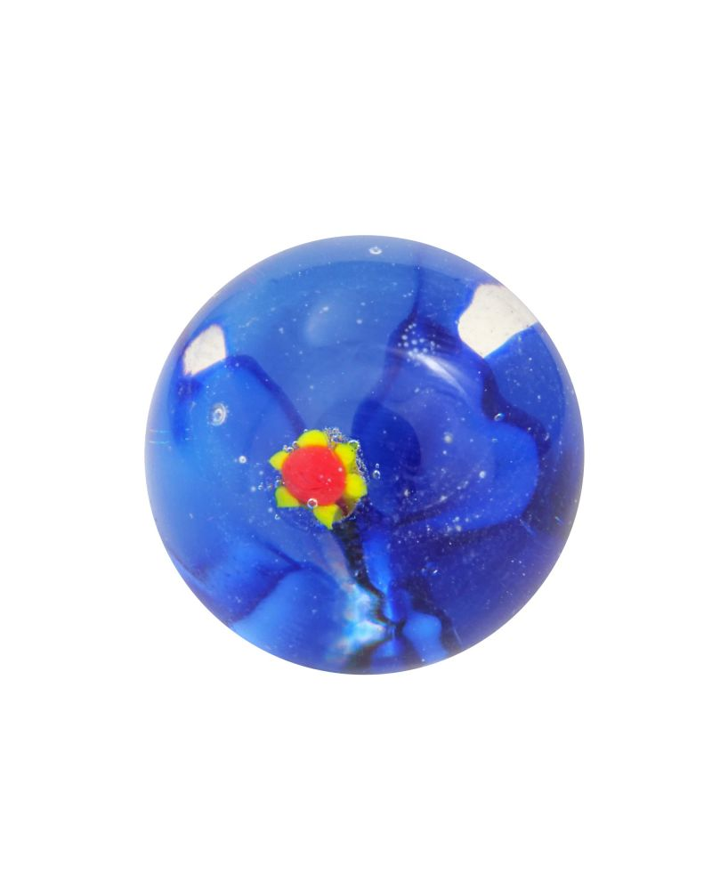 1 Marble Dark Blue Flower Art Marble 16 mm Glass Marbles