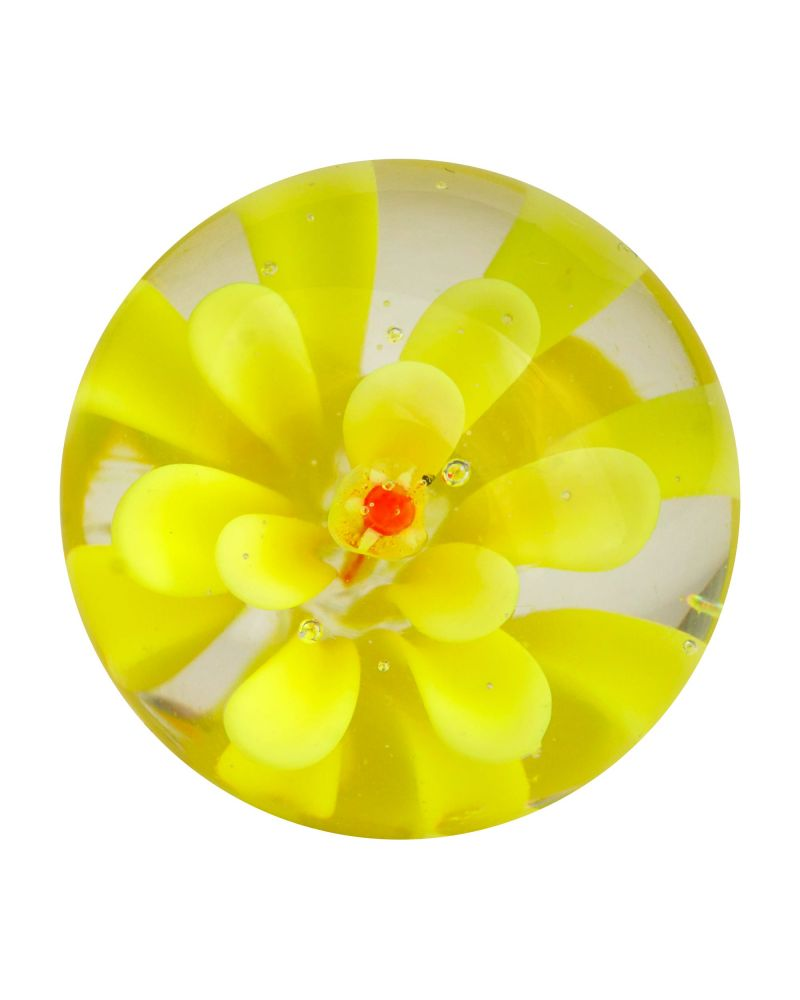 1 Marble Yellow Flower Art Marble 20 mm Glass Marbles