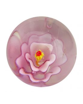 1 Marble Pink Flower Art Marble 20 mm Glass Marbles