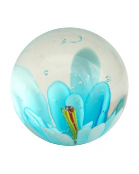 1 Marble Light blue Flower Art Marble 20 mm Glass Marbles