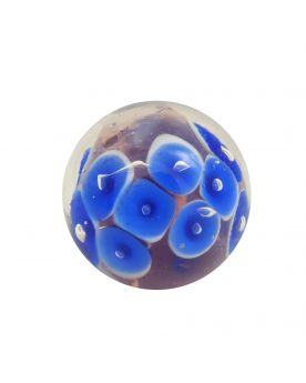 1 Medium Blue Water Lily Glass Art Marble 22 mm