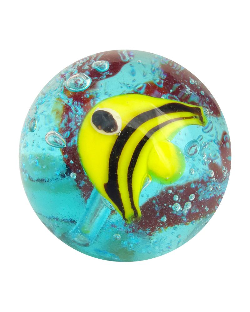 1 glass art marble Yellow Fish - 20 mm glass marble