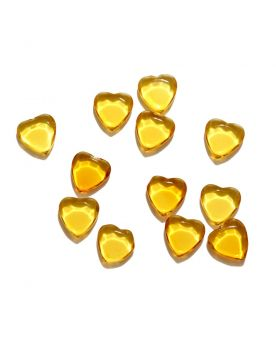 1 Flat Yellow Heart Art Glass Marble 22 mm
