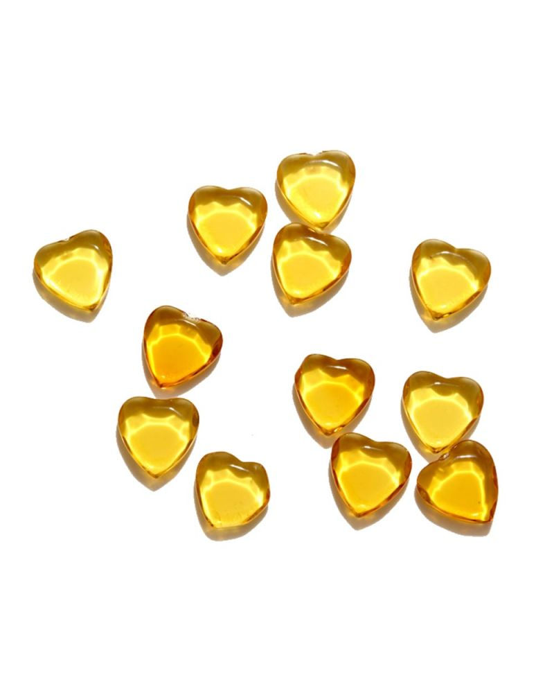 1 Marble Heart Shapes Yellow - 20 mm flat glass marble