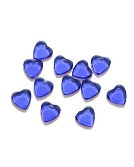 1 Flat Darck Blue Heart Art Glass Marble 22 mm