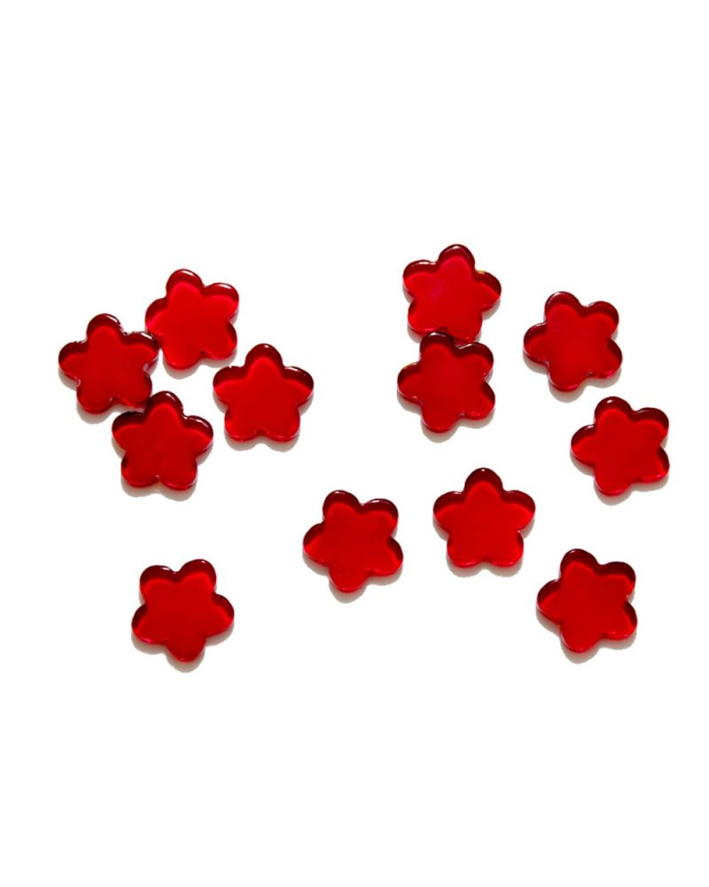 1 Marble Red Flower Shapes - 20 mm flat glass marble