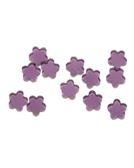1 Flat Purple Flower Art Glas Marble 21 mm