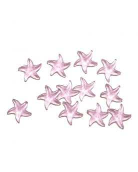 1 Marble Pink Starfish Shapes - 20 mm flat glass marble