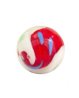 1 Marble Red Yin et Yang - Marble 16 mm