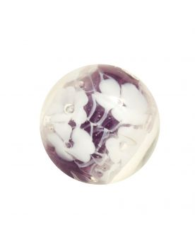 1 Marble Violet Scribble of Flowers - Marble 16 mm