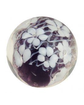 1 Marble Violet Scribble of Flowers - Marble 20 mm