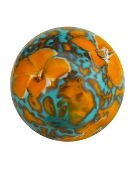 1 Marble Orange Scribble of Flowers - Marble 20 mm