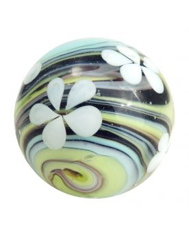 1 Marbles Black Tornado Flower - 20 mm glass art marble