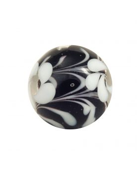 1 Marble Art Black flower 16 mm Glass Marbles