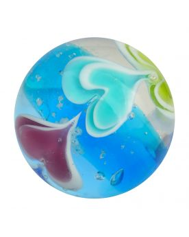 1 Blue Ice Cream Art Marble - 20 mm Glass Marble - SOLIDAIRE