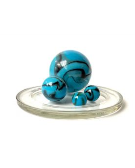 1 Family Glass Marbles Zébre Turquoise - MyGlassMarbles