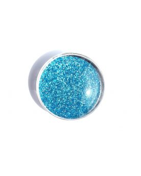 1 Flat Magnetic Marble Light Blue - GlassMarbles 25 mm