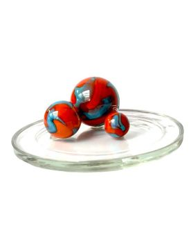 1 Family Glass Marbles Orange Turquoise - MyGlassMarbles