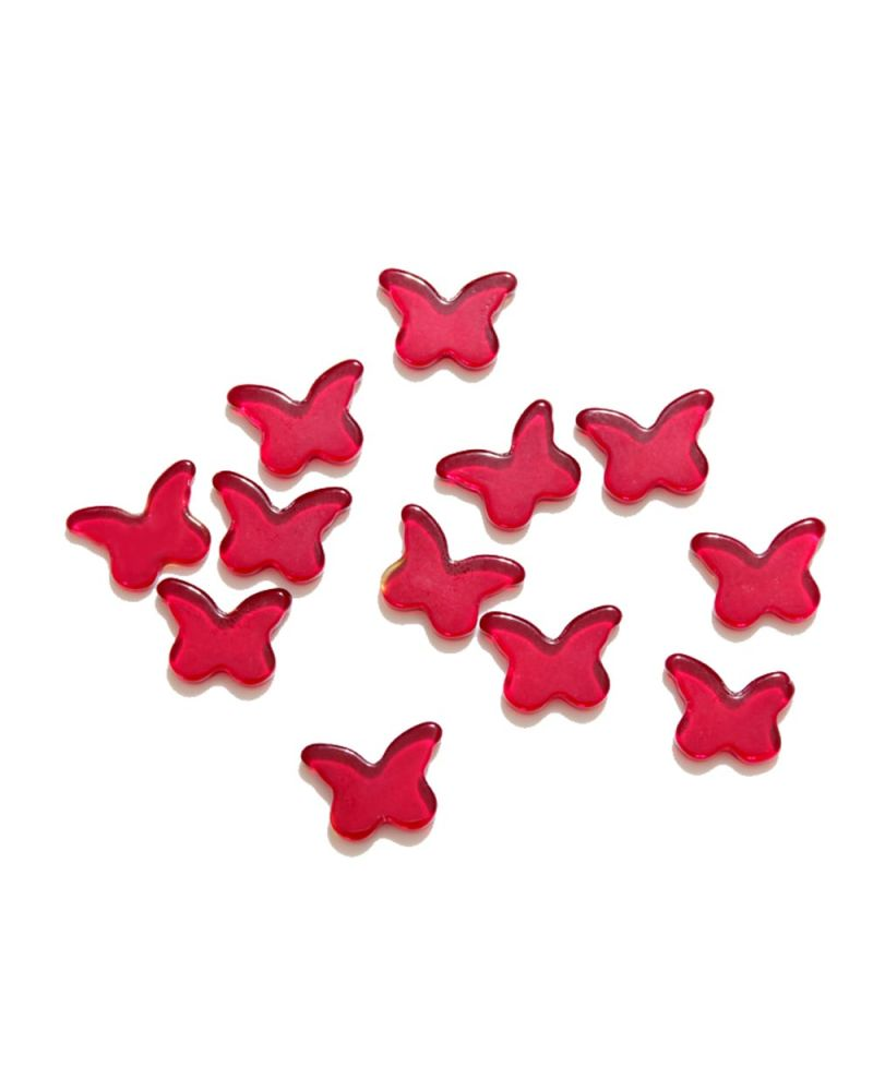 MyGlassMarbles - 4 Marbles Red butterfly Shapes - 20 mm flat glass marble by My GlassMarble