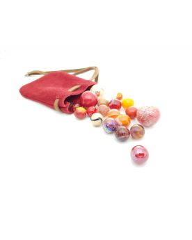 1 Red Leather Bag and 20 Red Marbles