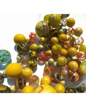 100 Marbles Multi Yellow - GlassMarbles Bag - MyMarbles