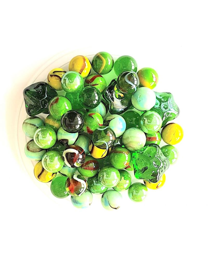 60 Nature Glass Marbles - SOLIDAIRE