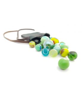 1 Leather Bag and 20 Green Marbles - SOLIDAIRE