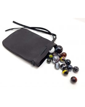 1 Leather Bag and 20 Black Marbles - SOLIDAIRE
