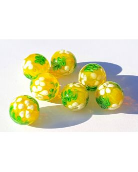 1 Yellow Floral Art Glass Marble 16 mm