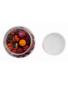 1 Red Marbles Jar Glass Marbles and Flat Marble