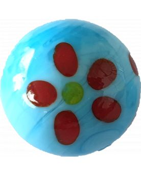 1 Marble Blue Art Daisy Glass Marble 16 mm