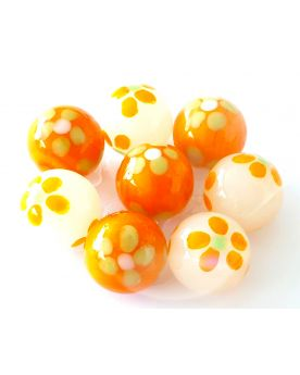 1 Marble Orange Art Daisy Glass Marble 16 mm