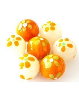1 Marble Orange Art Daisy Glass Marble 25 mm