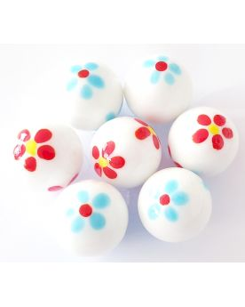 1 Marble White Art Daisy Glass Marble 25 mm