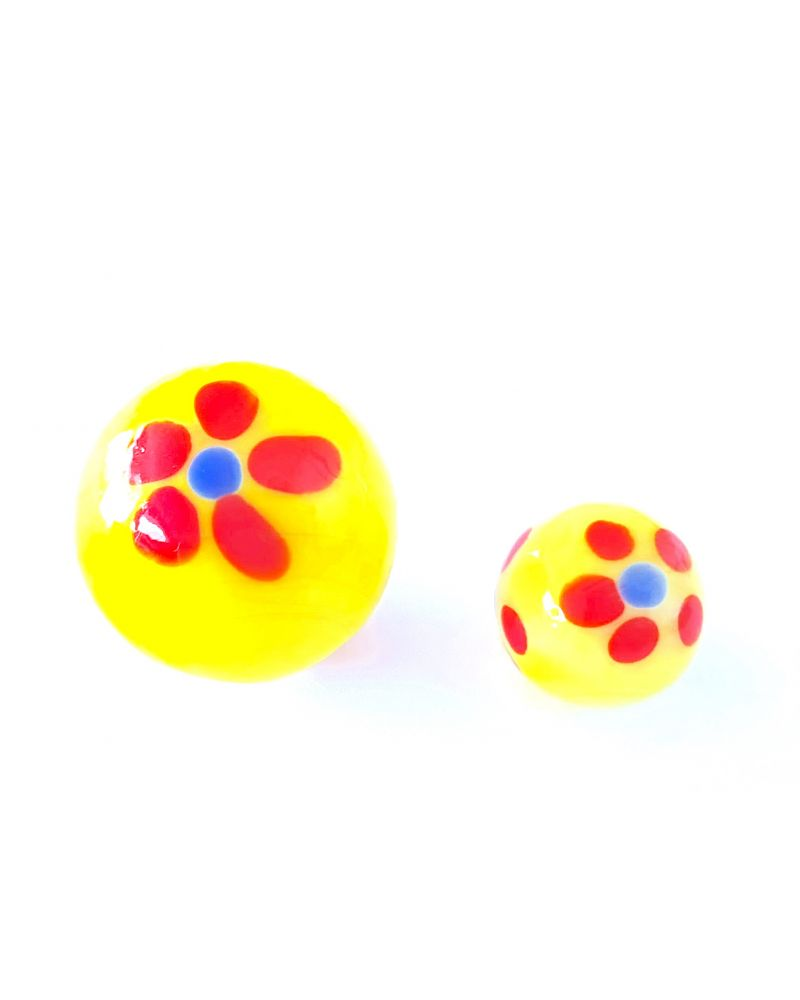 1 Marble Yellow Art Daisy Glass Marble 25 mm