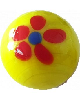 1 Marble Yellow Art Daisy Glass Marble 16 mm
