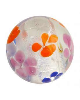 1 Art Marble Silver Flower Glass Marble 25 mm