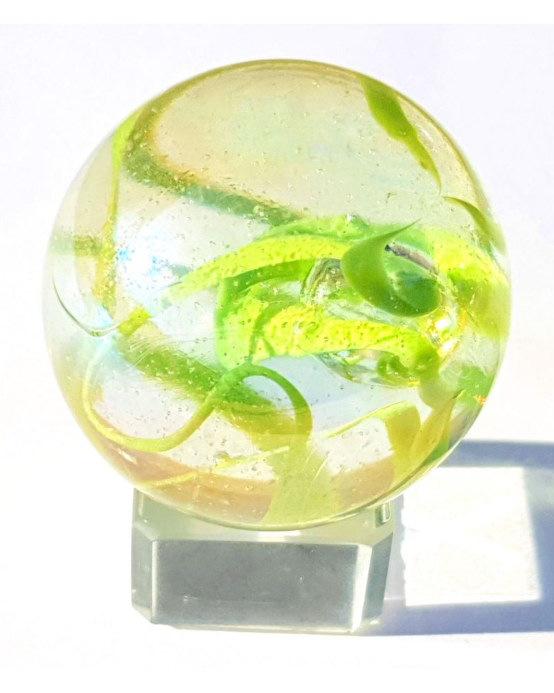 1 Shooter Marble Ribbon Green 25 mm Glass Marbles