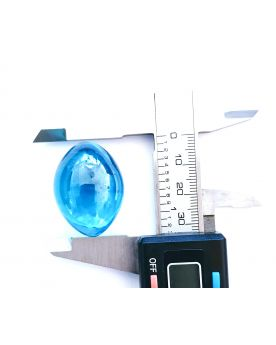 1 Rugby Shaped Light Blue Marble - 3x2cm Glass Marble