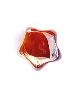 1 Flat Amber Hollywood Star Marble - 20 mm Glass Marble