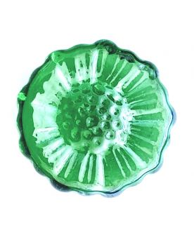 1 Flat Green Sunflower Marble - 30 mm Glass Marble