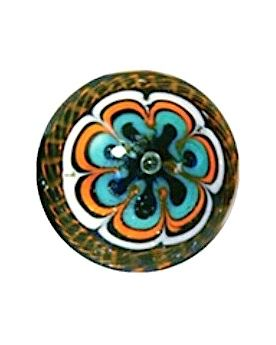 1 Art Marble Mandala Orange Glass Marble 22 mm