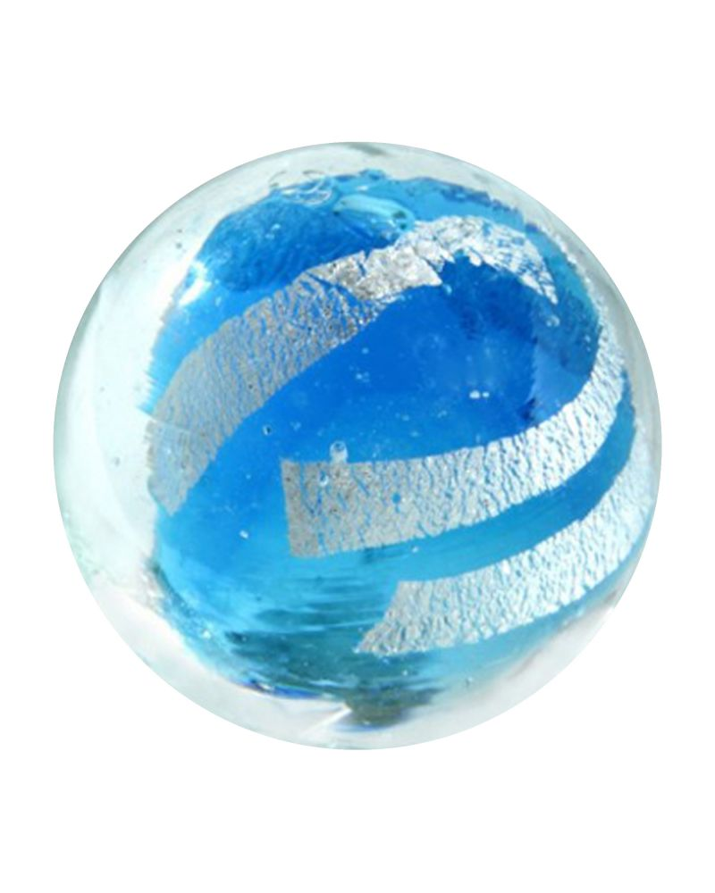 1 Blue Silver Cage Art Glass Marble 16 mm
