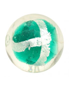 1 Dark Green Silver Cage Art Glass Marble 16 mm