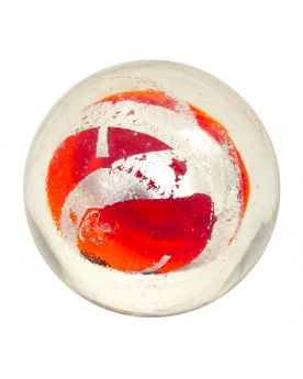 1 Red-Orange Silver Cage Art Glass Marble 16 mm